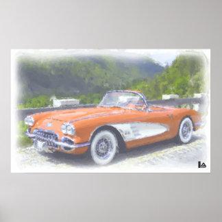 Aquarelle 1958 Corvette C1 convertible Poster
