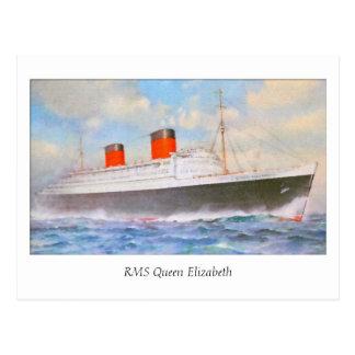 Aquarelle RMS Queen Elizabeth Postcard