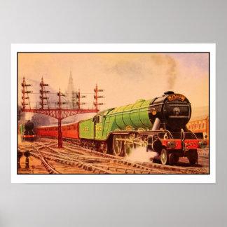 Aquarelle vintage locomotive Flying Scotsman Poster