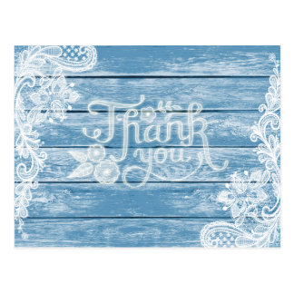 Aquarium-Blue Wood and Lace Wedding Thank You Postcard