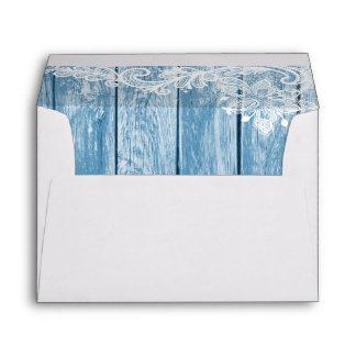 Aquarium-Blue Wood and Sheer Lace Lined Envelope