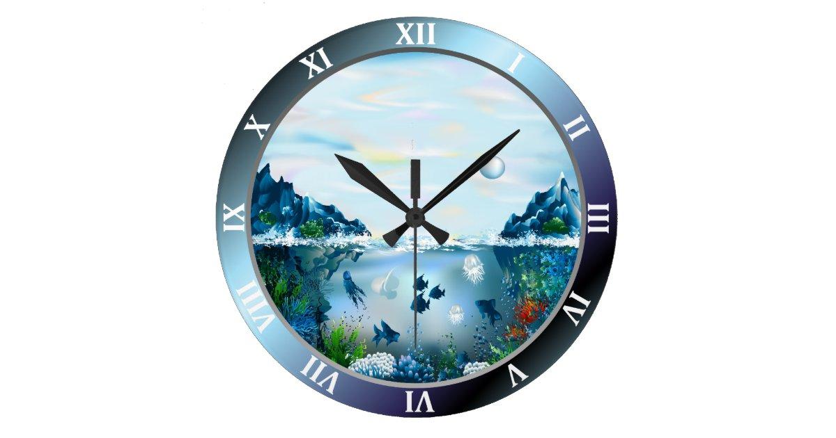 Aquarium Custom Large Round Wall Clock Zazzle Com