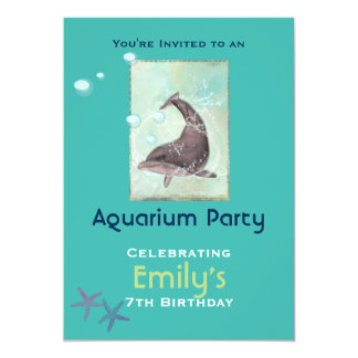 Aquarium Dolphon Themed Birthday Party Card