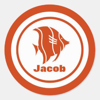 Aquarium Fish with Name Classic Round Sticker