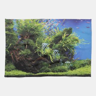 Aquarium Layout of Freshwater Angelfishes Kitchen Towel