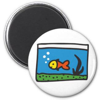 Aquarium with fish 2 inch round magnet