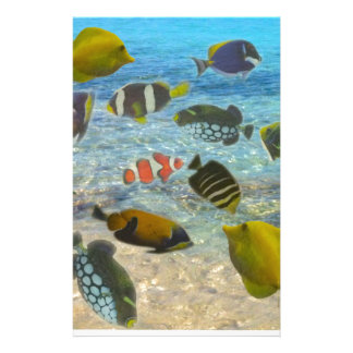 Aquarium with multicolor fishes stationery
