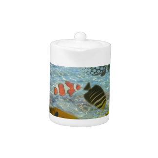 Aquarium with multicolor fishes teapot