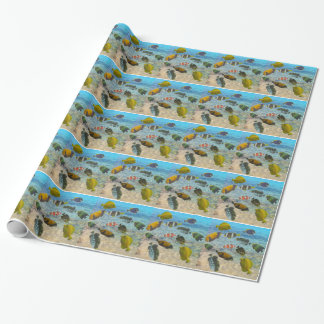 Aquarium with multicolor fishes wrapping paper