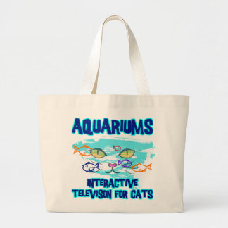 AQUARIUMS, INTERACTIVE TELEVISION FOR CATS LARGE TOTE BAG