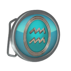 Aquarius Astrological Sign Oval Belt Buckle