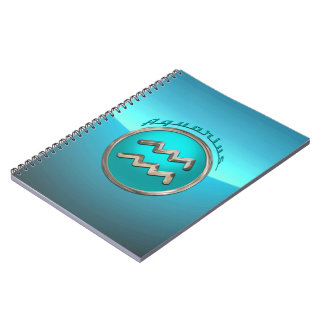 Aquarius Astrological Sign Spiral Notebook