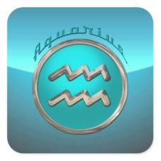 Aquarius Astrological Sign Square Sticker