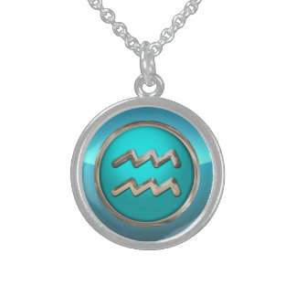 Aquarius Astrological Sign Sterling Silver Necklace