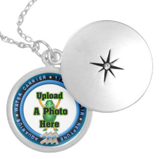 Aquarius astrology silver personalized locket