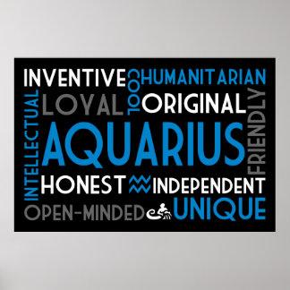 Aquarius Astrology Word Collage Print