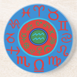 Aquarius Astrology Zodiac Sandstone Coaster