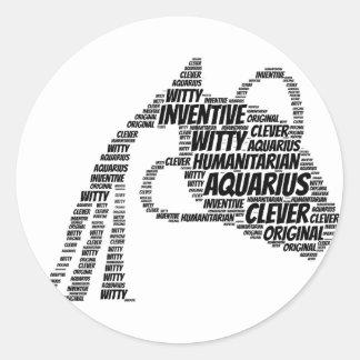 Aquarius Astrology Zodiac Sign Word Cloud Classic Round Sticker