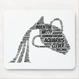 Aquarius Astrology Zodiac Sign Word Cloud Mouse Pad