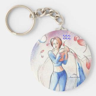Aquarius Basic Round Button Keychain
