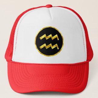 Aquarius Black Gold Crest Trucker Hat