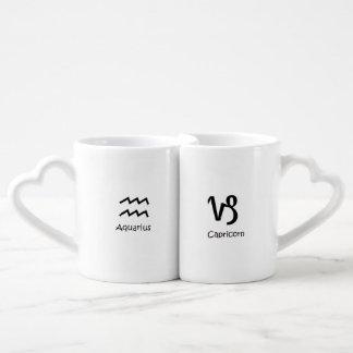 Aquarius & Capricorn goat Zodiacs Astrology Coffee Mug Set