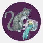 Aquarius Cat Classic Round Sticker