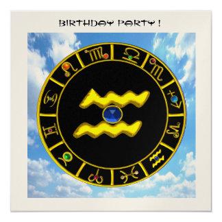 AQUARIUS circle,bright tellow,aqua blue,black gold Custom Announcements