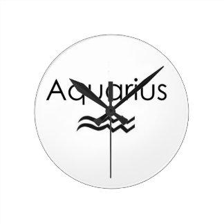 Aquarius Round Clock