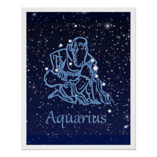 Aquarius Constellation and Zodiac Sign with Stars