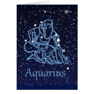Aquarius Constellation and Zodiac Sign with Stars Card