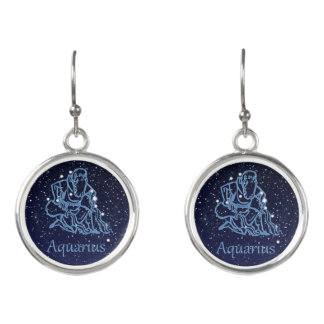 Aquarius Constellation and Zodiac Sign with Stars Earrings