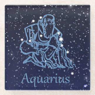 Aquarius Constellation and Zodiac Sign with Stars Glass Coaster