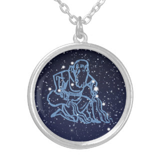 Aquarius Constellation and Zodiac Sign with Stars Silver Plated Necklace