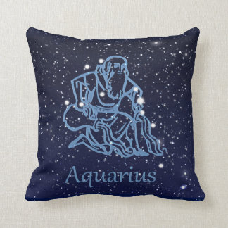 Aquarius Constellation and Zodiac Sign with Stars Throw Pillow