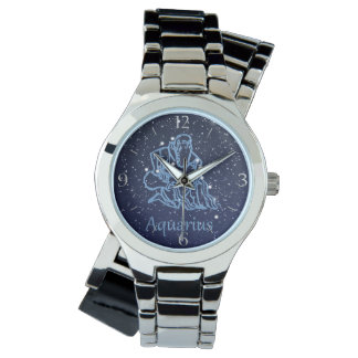 Aquarius Constellation and Zodiac Sign with Stars Wrist Watches