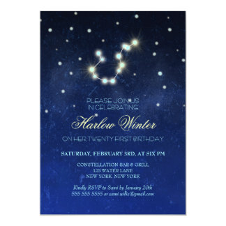 Aquarius Constellation Birthday Party Card