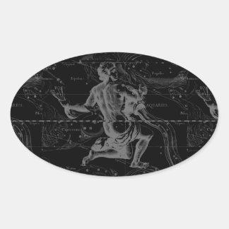 Aquarius Constellation Hevelius 1690 on Black Oval Sticker
