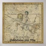Aquarius Constellation Star Map January Poster