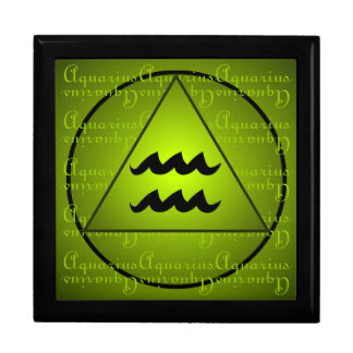 Aquarius Curly Script Triangle Circle Green Gift Boxes