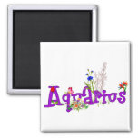 Aquarius Flowers 2 Inch Square Magnet