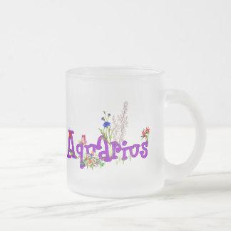 Aquarius Flowers Frosted Glass Coffee Mug
