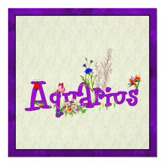"Aquarius Flowers 5.25"" Square Invitation Card"