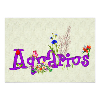 "Aquarius Flowers 5"" X 7"" Invitation Card"