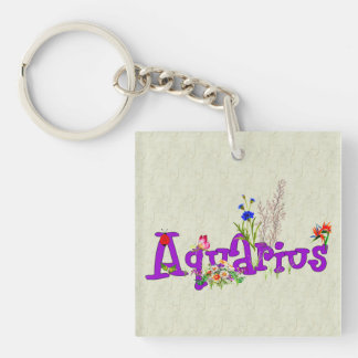 Aquarius Flowers Keychain