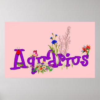 Aquarius Flowers Poster