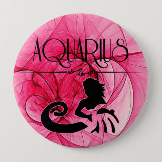 Aquarius for the Lady Zodiac in Pink Pinback Button