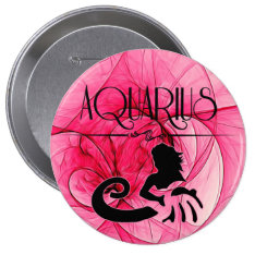 Aquarius For The Lady Zodiac In Pink Pinback Button at Zazzle