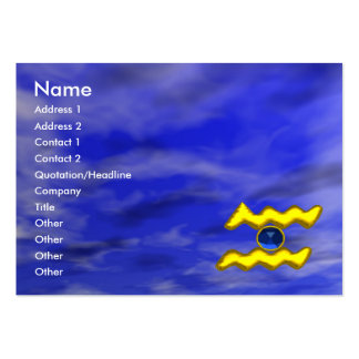 AQUARIUS GOLD JEWEL,blue sapphire, yellow Large Business Cards (Pack Of 100)