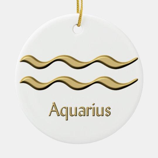 Aquarius gold symbol ornament